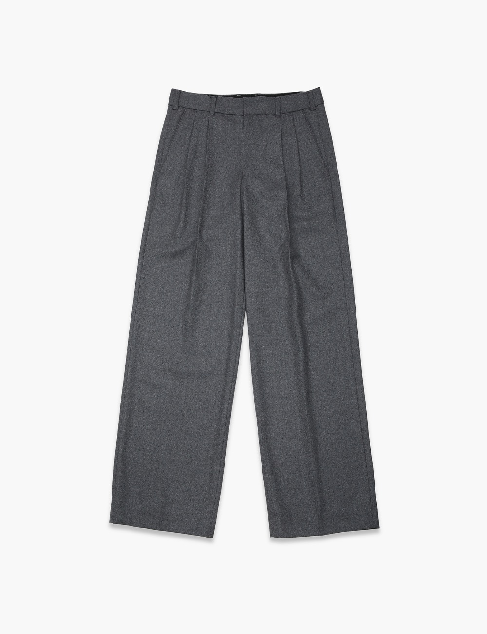PLEATED FRONT WIDE-LEG TROUSERS (GRAY)