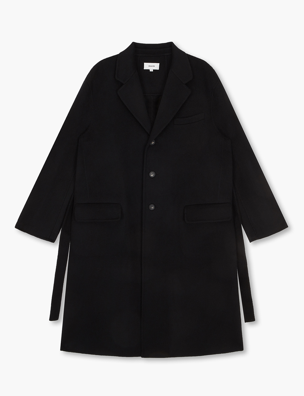 THREE BUTTON DOUBLE FACE COAT (BLACK)