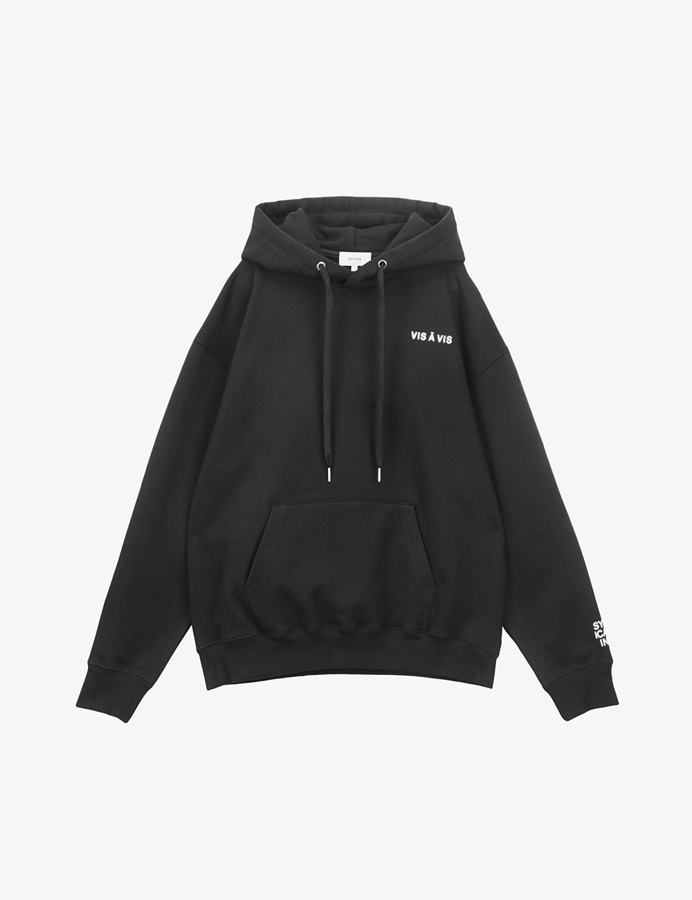 V LOGO UNISEX HOODED SWEATSHIRT (BLACK)